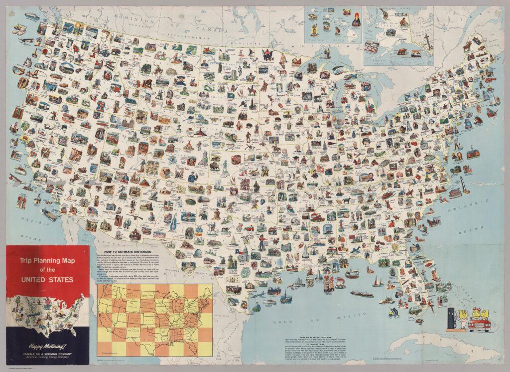 Туристическая карта Америки 1962 года