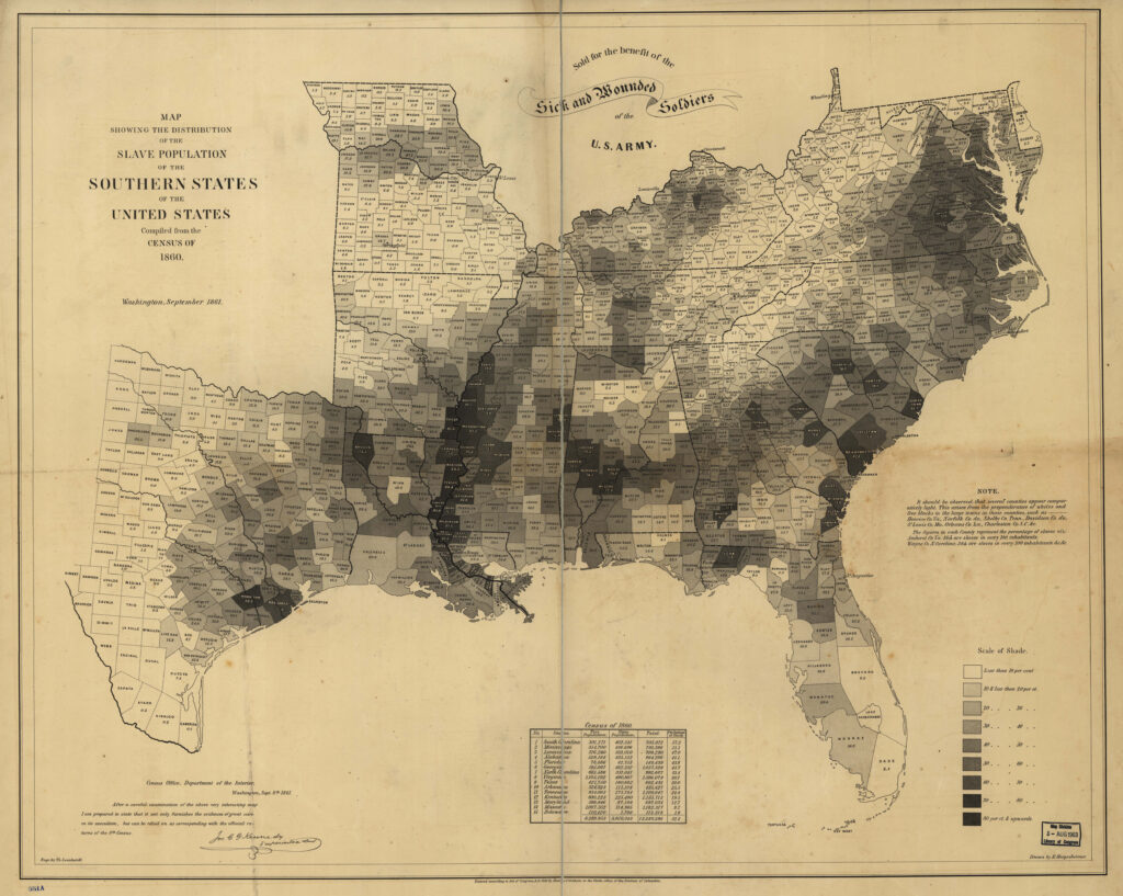 Карта распределения рабского населения